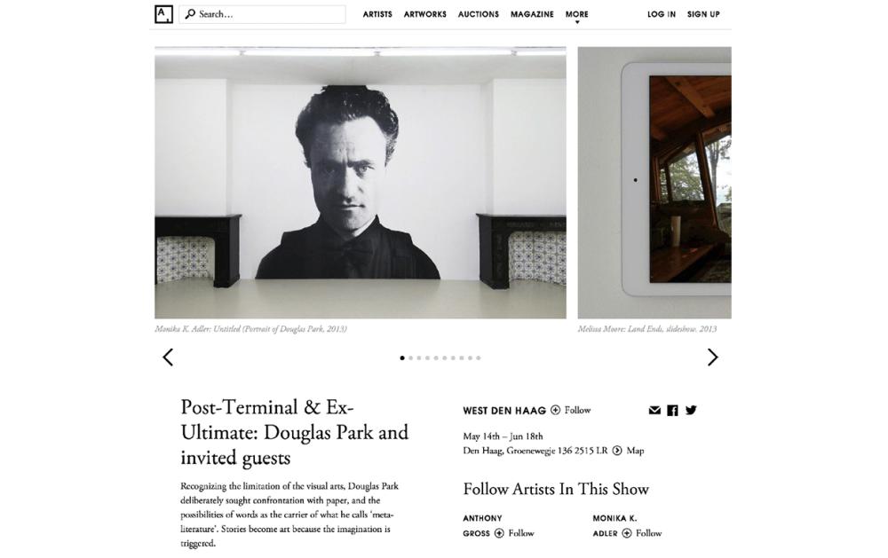 Monika K. Adler, Post-Terminal & Ex-Ultimate: Douglas Park, West Den Haag, Artsy, June 2016