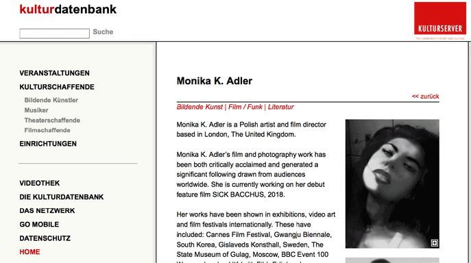 Monika K. Adler, film director, Kultur Portal Deutschland, 5 Jan. 2018