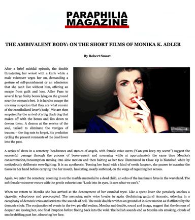 The Ambivalent Body: On The Short Films Of Monika K. Adler By Robert Smart