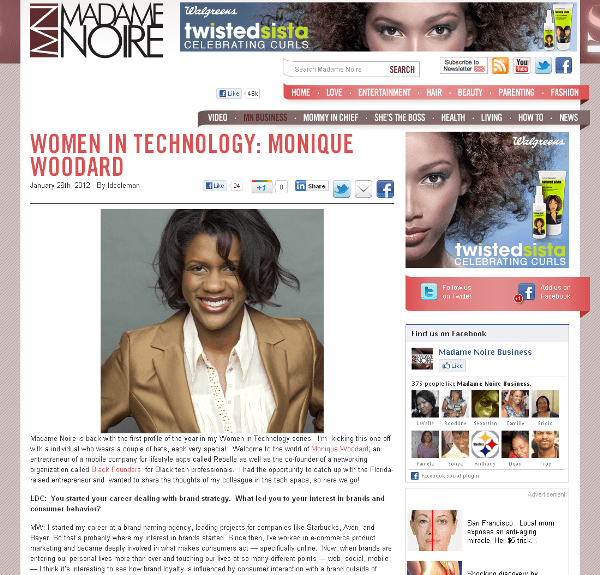 Monique Woodard in Madame Noire online magazine