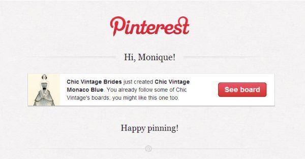 Pinterest  new board notification