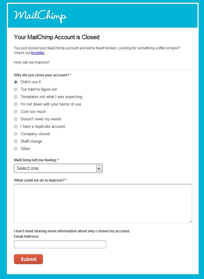 MailChimp cancellation