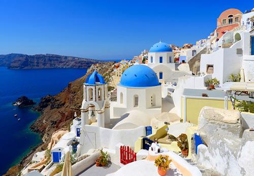 Colorful Oia Village at Santorini Greece