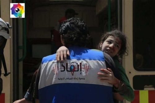 Niños evacuados en los ataques contra Alepo/. Fotógrafo de AMC.