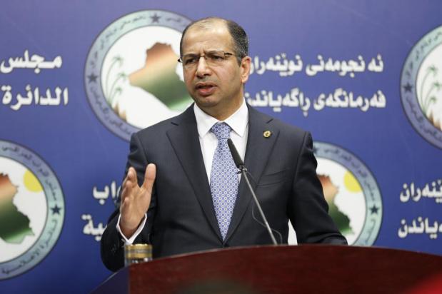 El presidente parlamentario iraquí Salim al-Jabouri celebra una conferencia de prensa en Bagdad, Irak el 7 de diciembre de 2016 [Murtadha Sudani / Anadolu Agency]