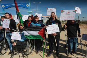 Palestinians hold demonstrations at the Erez crossing against Israel's ongoing siege on the Gaza Strip 5 January 2016 [ Mohammed Asad/Monitor de Oriente