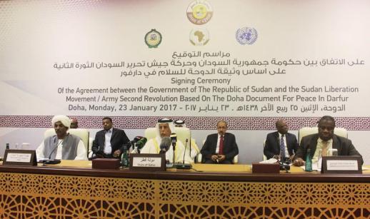 Firma para el acuerdo de paz sudanesa en Doha, Qatar, el 23 de enero, 2017 (Ahmed Youssef Elsayed Abdelrehim - Agencia Anadolu)