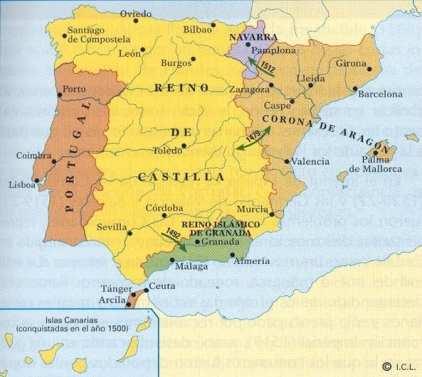Mapa de la península Ibérica en 1492