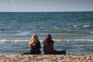 GAZA, PALESTINA- Vistas del mar y el sol