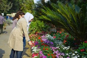 EL CAIRO, EGIPTO- Las egipcias asisten a la exposición de flores de primavera en el Jardín Orman de El Cairo