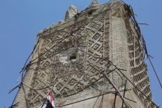 Los restos de la Gran Mezquita de Al-Nuri y el minarete de Al-Hadba, tras la liberación de Mosul el 9 de julio de 2017 [Agencia Anadolu / Hemn Baban]