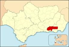 Situación Localicación de Las Alpujarras en Andalucía, España.