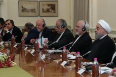El presidente iraní Hassan Rouhani y el primer ministro indio Narendra Modi asistieron a una reunión en Nueva Delhi, India, 17 de febrero de 2018 [Presidencia iraní / Folleto / Agencia Anadolu]