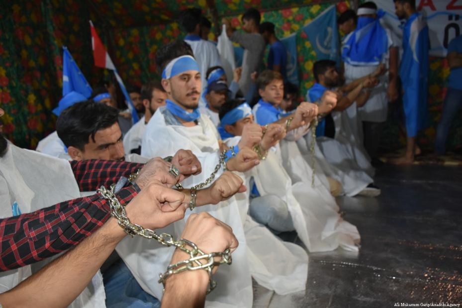 Turcos iraquíes en huelga de hambre para protestar por el presunto fraude electoral de las elecciones generales, en Kirkuk, Iraq, 17 de mayo de 2018 [Ali Mukarrem Garip / Agencia Anadolu]