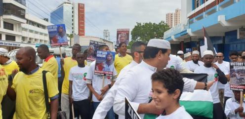 Para el Día de Quds, los kenianos se reunieron en Mombasa para protestar por la actual ocupación israelí de Palestina, el 31 de mayo de 2019 [Servicio de Newswire Afro-Palestina]