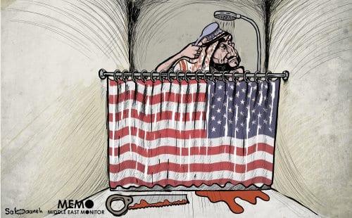 1 año después del asesinato de Jamal Khashoggi, MBS no tiene nada de qué preocuparse - Cartoon [Sabaaneh / MiddleEastMonitor]