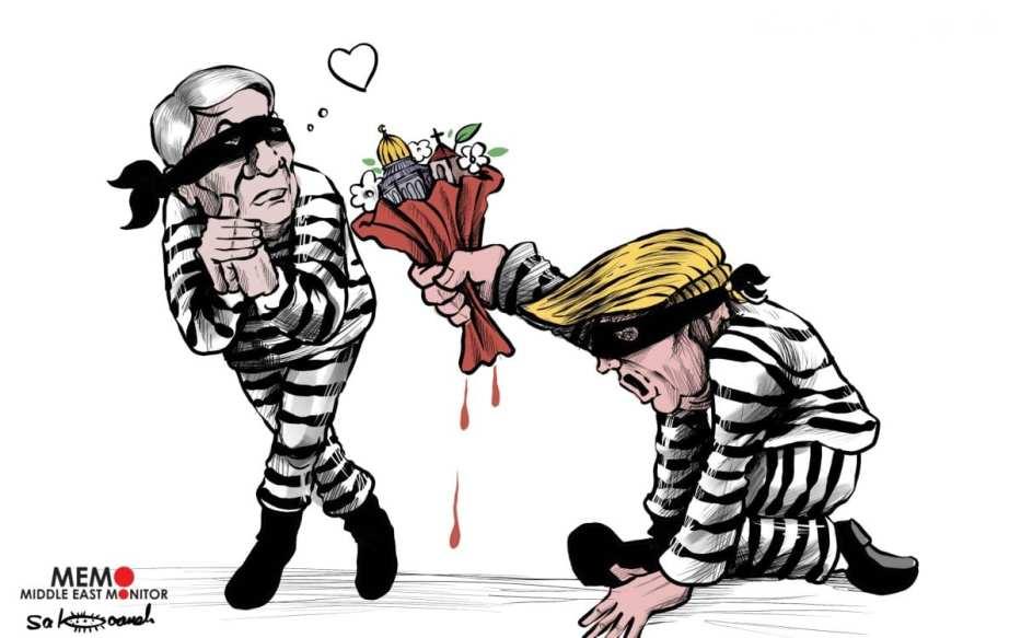 La historia de amor de Trump y Netanyahu en torno a Jerusalén y el destino de Palestina - Caricatura [Sabaaneh / MiddleEastMonitor]