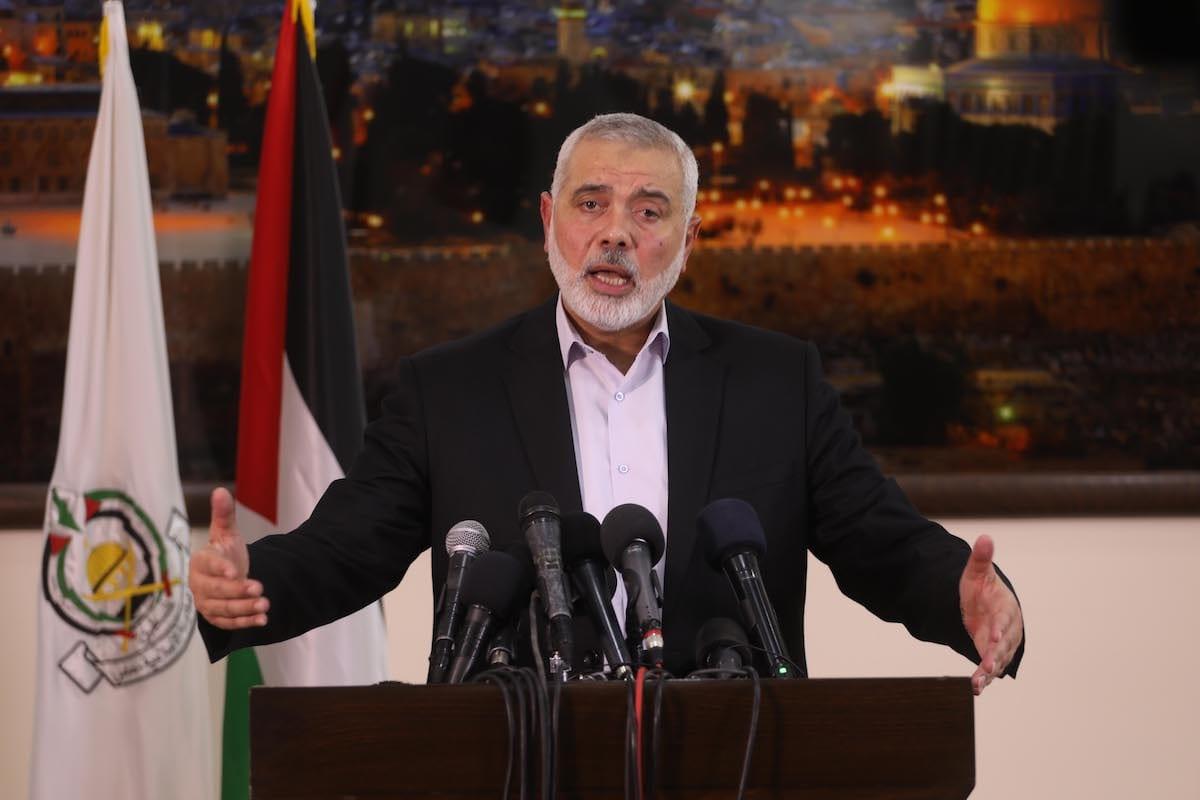 Conferencia de prensa de Ismail Haniyeh en Gaza, el 10 de noviembre de 2019 [Mohammed Asad-Middle East Monitor]
