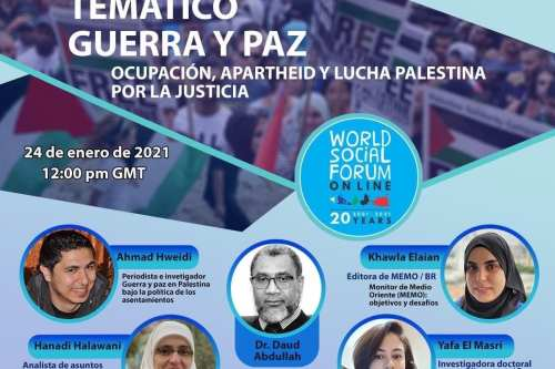 El Foro Social Mundial 2021 tendrá una fuerte presencia palestina