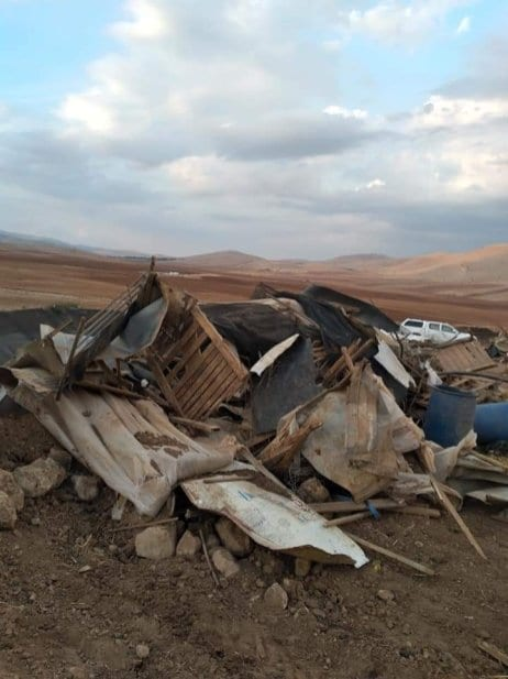 Los restos de una escuela después de que se ordenara su demolición en la Ribera Occidental, 14 de enero de 2021 [Mahdi Daraghma/Monitor de Oriente Medio]