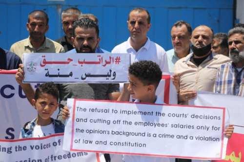Gaza protesta por los continuos recortes salariales de la Autoridad…