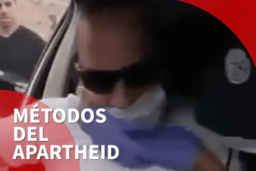 Un palestino filma el momento de su detención por parte…