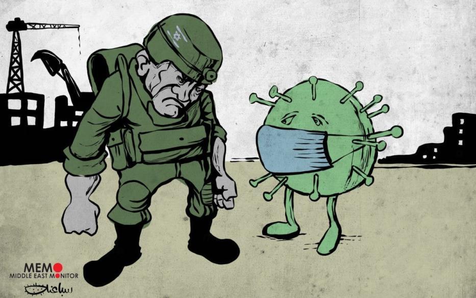 Israel luta contra o coronavírus – cartum [Sabaaneh/Monitor do Oriente Médio]