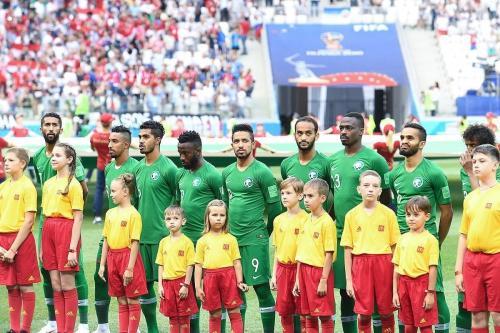 Membros da equipe nacional de futebol da Arábia Saudita antes de uma partida da Copa do Mundo da FIFA 2018 em 26 de junho de 2018 [soccer.ru / Wikimedia]