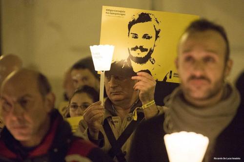 Procissão em memória ao estudante italiano Giulio Regeni, assassinado no Egito [Riccardo De Luca/Agência Anadolu]