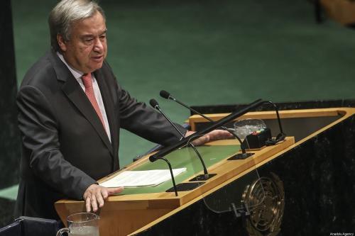 Secretário-Geral das Nações Unidas António Guterres discursa na 74ª sessão da Assembleia Geral da ONU, em Nova Iorque, Estados Unidos, 24 de setembro de 2019 [Erçin Top/Agência Anadolu]