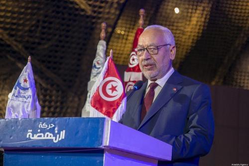 Presidente do Parlamento da Tunísia Rached Ghannouchi participa do 4° Congresso Estudantil do Movimento Nahda, na Universidade da Tunísia, na capital túnis, 18 de janeiro de 2020 [Yassine Gaidi/Agência Anadolu]