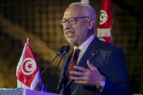 Presidente do Parlamento da Tunísia Rached Ghannouchi, em Túnis, capital da Tunísia, 18 de janeiro de 2020 [Yassine Gaidi/Agência Anadolu]
