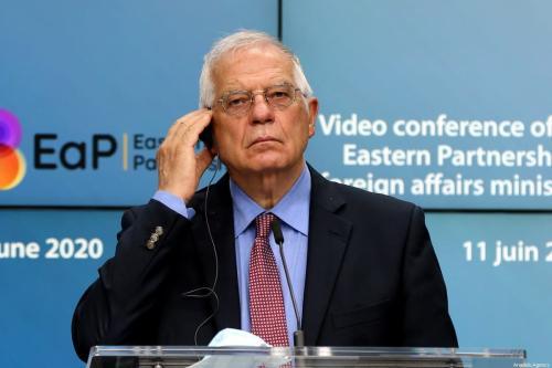 Josep Borrell, Alto Representante de Relações Internacionais da União Europeia, em coletiva de imprensa realizada em Bruxela, Bélgica, 11 de junho de 2020 [Dursun Aydemir/Agência Anadolu]