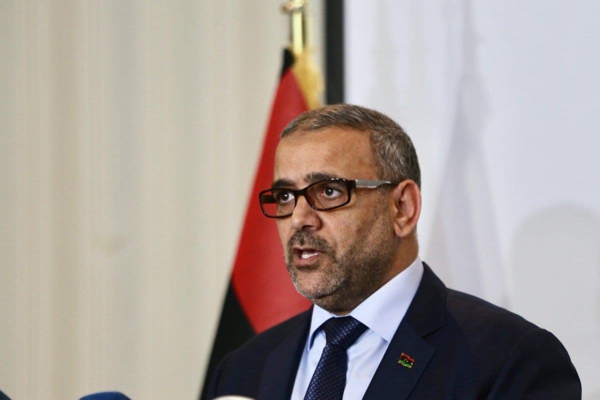 Presidente do Alto Conselho de Estado da Líbia, Khalid al-Mishri durante coletiva de imprensa em Trípoli, Líbia, em 24 de junho de 2020. [Hazem Turkia/Agência Anadolu]
