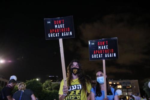 Protesto em Tel Aviv contra assentamentos judaicos e o plano de anexação de Israel da Cisjordânia em 23 de junho 2020 [Mostafa Alkharouf / Agência Anadolu]