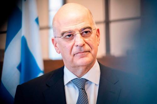 Ministro das Relações Exteriores da Grécia Nikos Dendias na Dinamarca em 21 de fevereiro de 2020 [Ida Marie Odgaard/ Ritzau Scanpix/ AF / Getty Images]