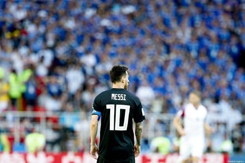 Lionel Messi, da Argentina, duranteJogo do Grupo D da Copa do Mundo FIFA da Rússia entre Argentina e Islândia no Estádio Spartak em Moscou, Rússia, em 16 de junho de 2018 [Agência Sefa Karacan / Anadolu]