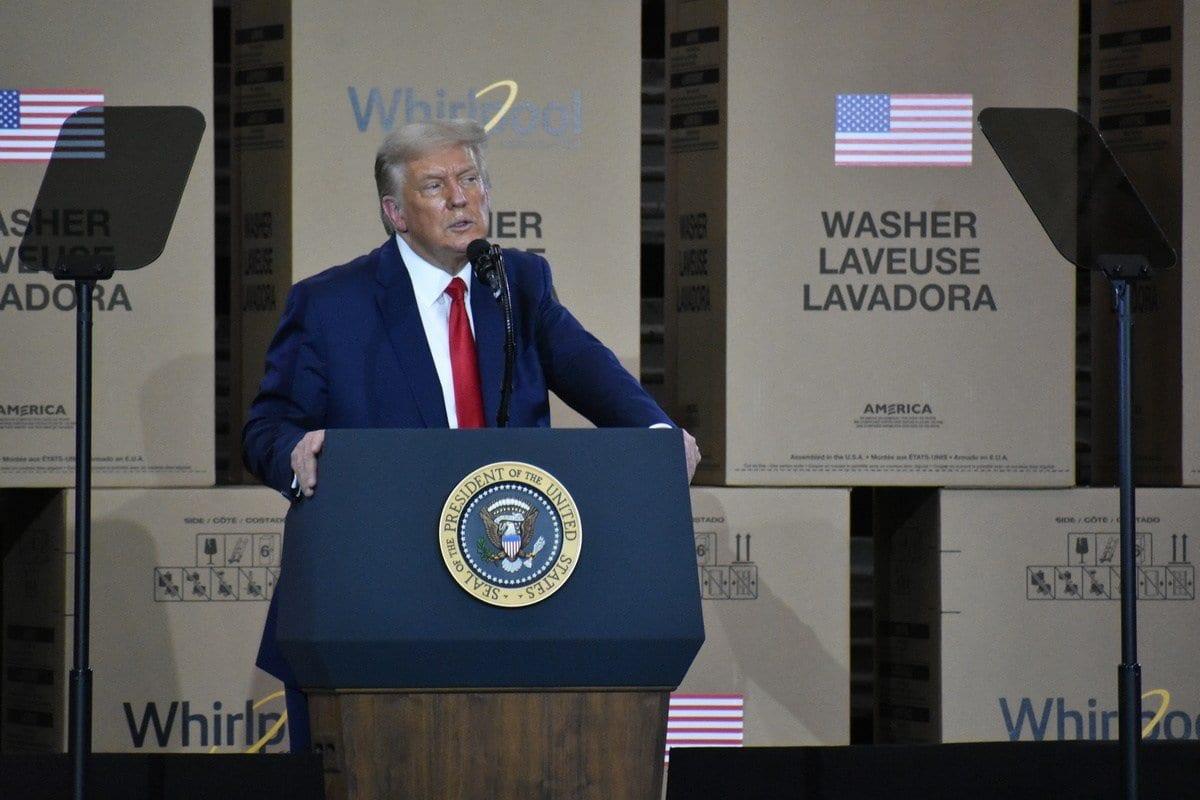 Presidente dos Estados Unidos Donald Trump em Ohio, EUA, 6 de agosto de 2020 [Kyle Mazza/Agência Anadolu]