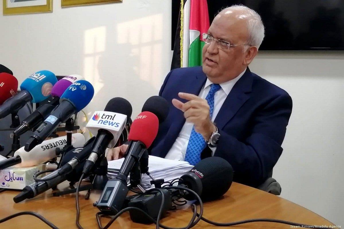 Secretário-Geral da Organização para Libertação da Palestina (OLP), Saeb Erekat em Ramallah, Cisjordânia em 30 de janeiro de 2020 [Agência Issam Rimawi / Anadolu]