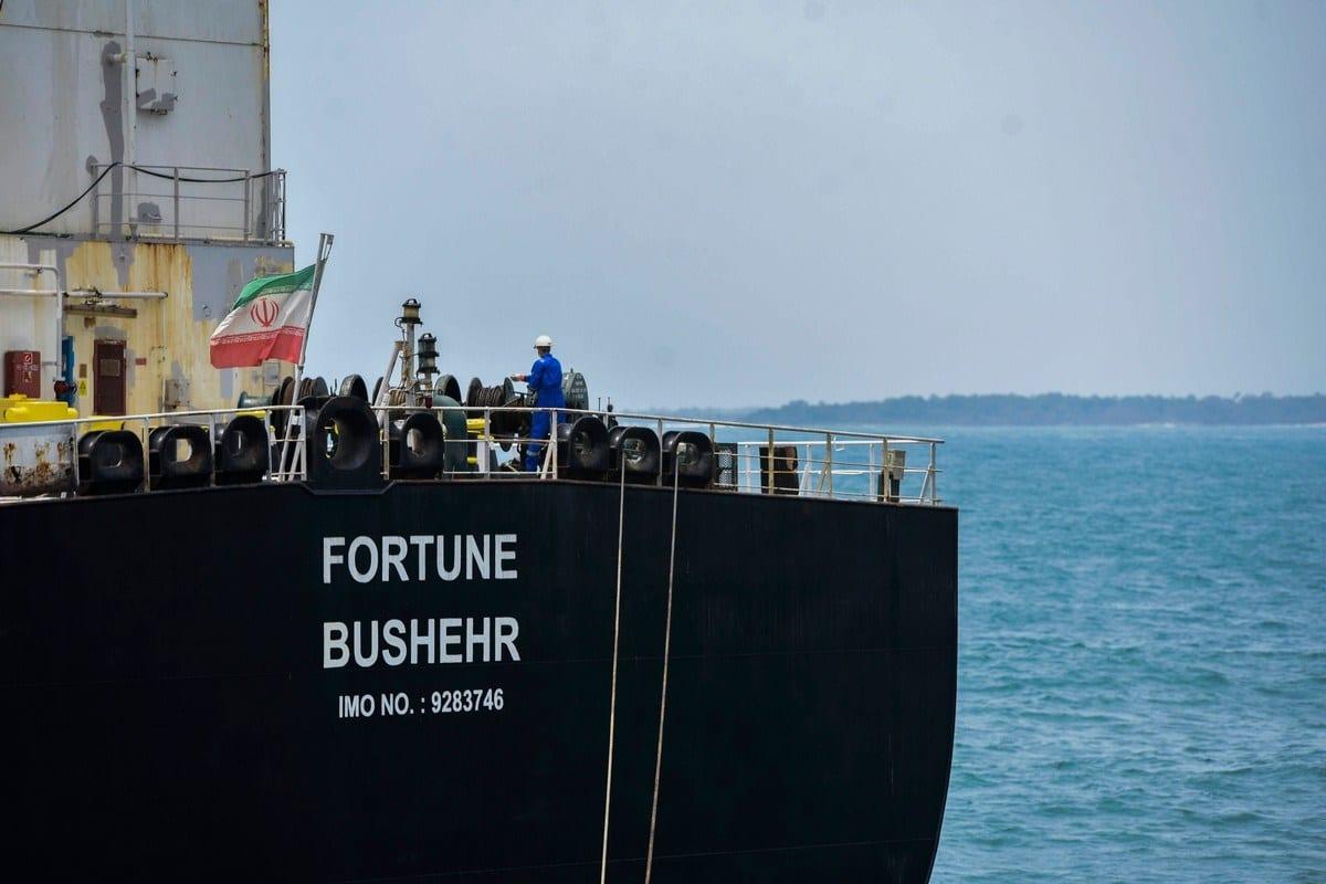 Navio-petroleiro iraniano Fortune é ancorado na refinaria de El Palito, na Venezuela, 25 de maio de 2020 [AFP/Getty Images]