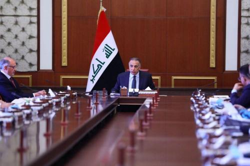 Primeiro Ministro Iraquiano Mustafa Al-Kadhimi em Bagdá, Iraque, em 12 de maio de 2020 [Gabinete do governo / Agência Anadolu]