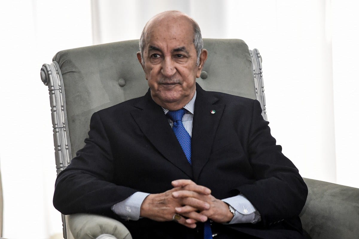 Presidente da Argélia Abdelmadjid Tebboune, em Argel, 21 de janeiro de 2020 [Ryad Kramdi/AFP/Getty Images]