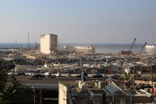 Uma visão do Porto de Beirute após um incêndio em um armazém levar a grandes explosões em 4 de agosto em Beirute, Líbano em 13 de agosto de 2020 [Agência Aysu Biçer / Anadolu]