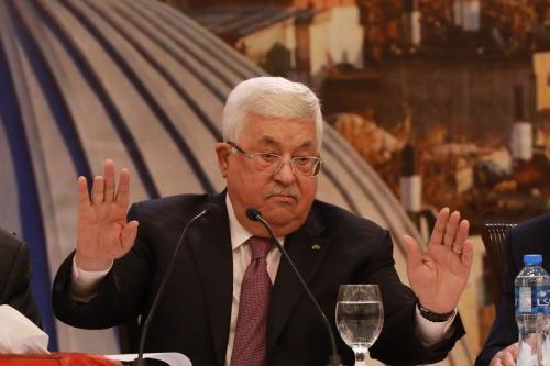 O presidente palestino Mahmoud Abbas em entrevista coletiva sobre o chamado plano de paz de Trump em Ramallah, Cisjordânia, em 28 de janeiro de 2020 [Agência Issam Rimawi / Anadolu]