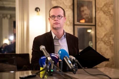 Benjamin Blanchard, diretor-geral da organização francesa SOS Chrétiens d'Orient (Cristãos do Oriente Médio) em coletiva de imprensa, em Paris, 24 de janeiro de 2020 [Thomas Sanson/AFP/Getty Images]