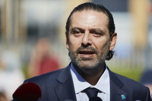Ex-Primeiro-Ministro do Líbano Saad Hariri concede declaração à imprensa diante do Tribunal sobre o Líbano, em Haia, Holanda, 18 de agosto de 2020 [Pierre Crom/Getty Images]