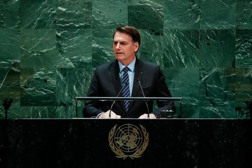 Jair Bolsonaro, discursa durante a abertura da 74ª Sessão da Assembleia Geral das Nações Unidas (AGNU), em 22 de setembro de 2020 [Creative Commons, Alan Santos/PR]