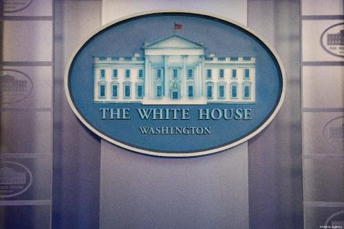 Logotipo da Casa Branca em Washington DC, Estados Unidos, 15 de maio de 2019 [Yasin Özturk/Agência Anadolu]