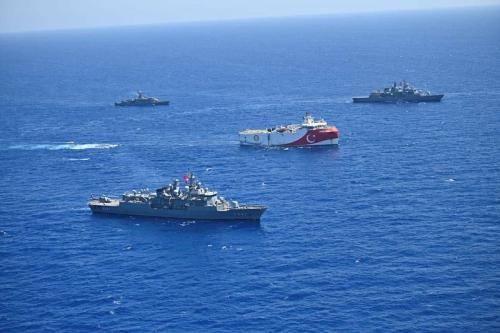 Marinha da Turquia no Mar Mediterrâneo Oriental, em 20 de agosto de 2020 [Ministério da Defesa da Turquia/Agência Anadolu]