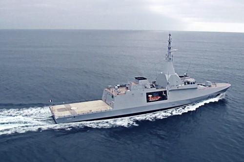 Primeiros testes de mar da corveta francesa Gowind 2500 El Fateh, feita para a Marinha egípcia [Ahmed XIV / Wikipedia]